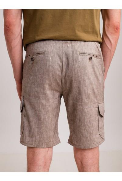 Dufy Kahve Melanj Ip Detaylı Cepli Keten Karışımlı Erkek Short - Modern Fit