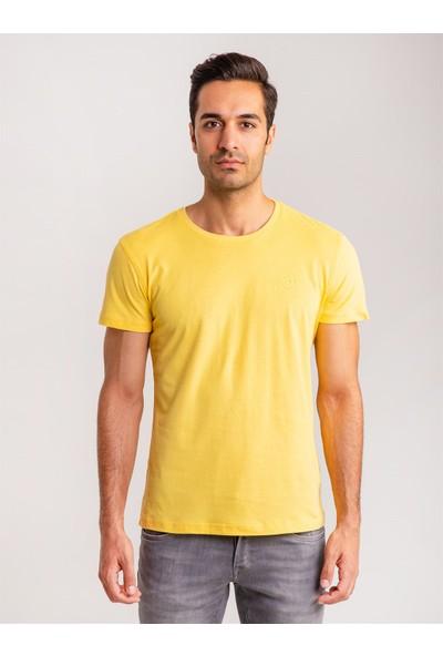 Dufy Sarı Pamuklu Fırçalı Süprem Erkek T-Shirt - Modern Fıt