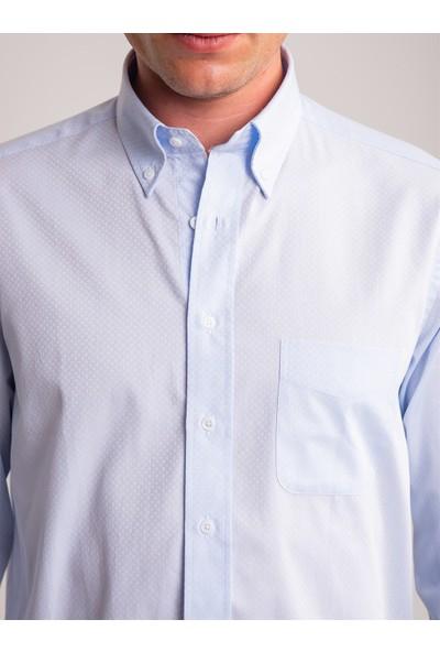 Dufy Mavi Kare Desen Pamuklu Klasik Erkek Gömlek - Regular Fıt