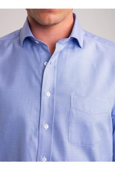 Dufy Mavi Kazayağı Desenli Pamuklu Erkek Gömlek - Regular Fıt