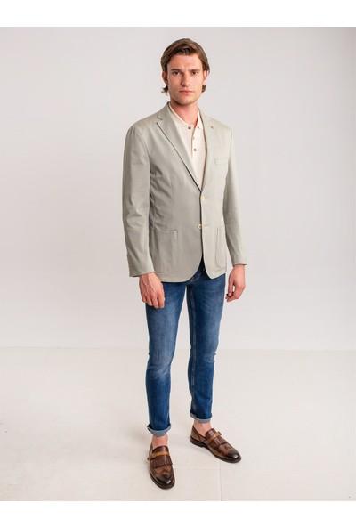 Dufy A.yeşil Düz Erkek Ceket - Slim Fit