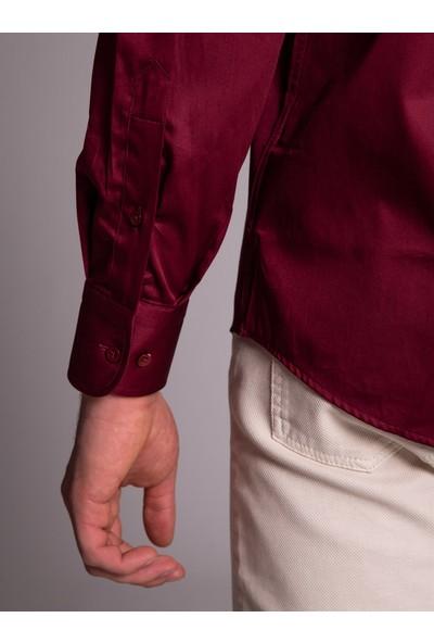 Dufy Bordo Düz Erkek Gömlek - Regular Fıt