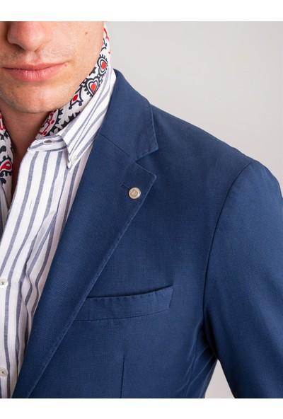 Dufy Lacivert Armür Pamuk Likra Karışımlı Erkek Ceket - Galvin-Sn Slim Fit