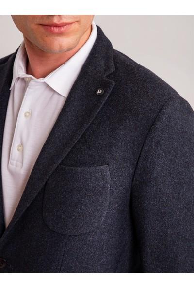 Dufy Lacivert Yün Akrilik Karışımlı Fitilli Kumaş Erkek Ceket - Slim Fit
