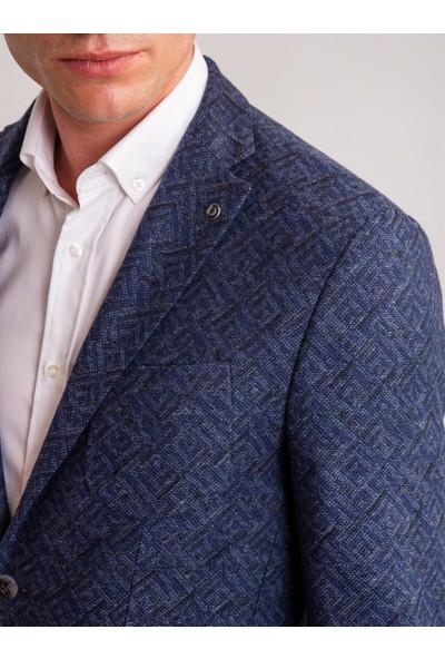 Dufy Lacivert Desenli Yün Karışımlı Erkek Ceket - Slim Fit