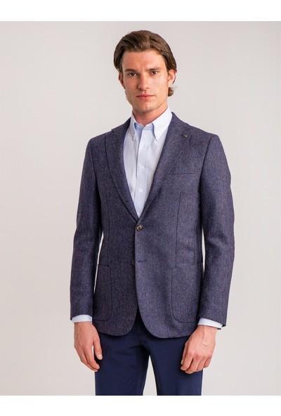 Dufy Lacivert Armür Virgin Wool Yün Karışımlı Erkek Ceket - Galvin-Sn Slim Fit