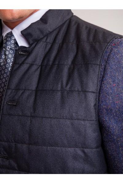 Dufy Lacivert Kapitone Düğme Detaylı Kısa Kol Erkek Dış Giyim - Slim Fit