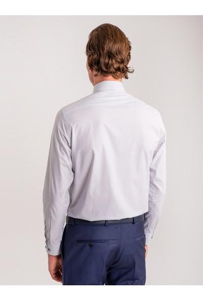 Dufy Beyaz Gri Çizgili Pamuklu Erkek Gömlek - Slim Fit