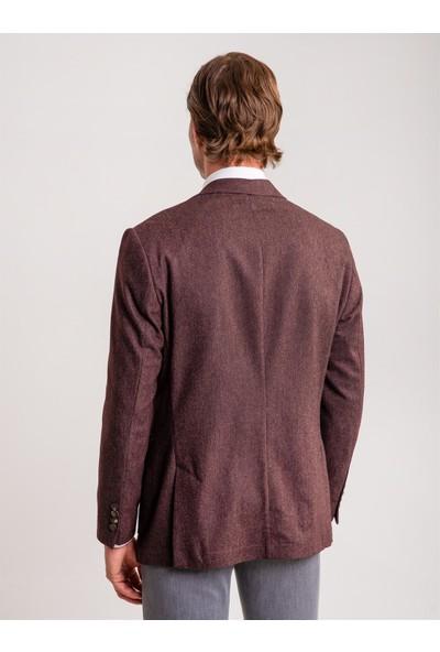 Dufy Bordo Flenen Yün Karışımlı Erkek Ceket - Galvın- Rc Regular