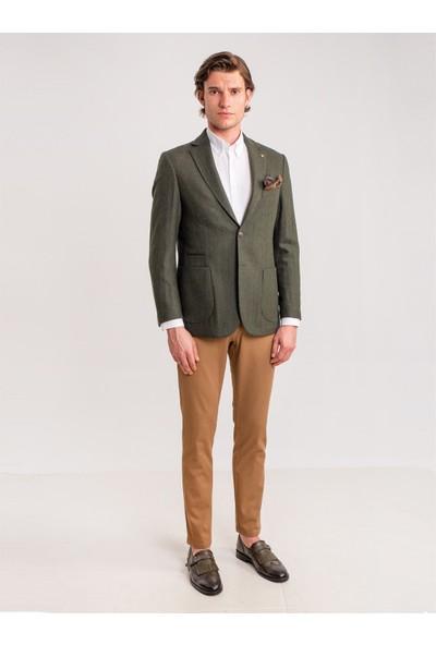 Dufy Haki Balıksırtı Erkek Ceket - Galvın- Rc Regular
