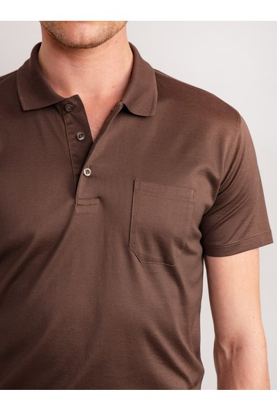 Dufy Kahve Düz Polo Yaka Merserize Pamuk Erkek T-Shirt - Regular Fıt