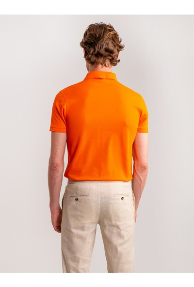 Dufy Turuncu Düz Merserize Pike Kumaş Polo Yaka Erkek T-Shirt - Slim Fit
