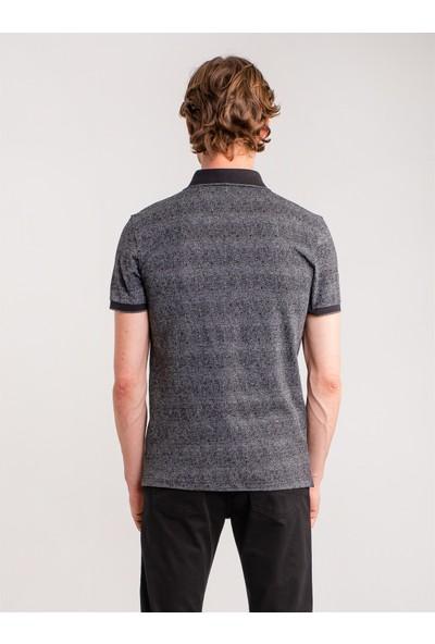 Dufy Siyah Pamuklu Jakar Merserize Polo Yaka Erkek T-Shirt - Regular Fıt