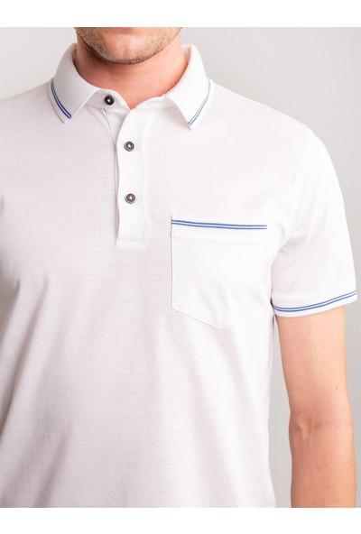 Dufy Beyaz Pirinç Örgü Yaka Detaylı Pamuklu Merserize Polo Yaka Erkek T-Shirt - Regular Fıt
