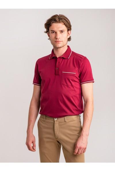 Dufy Mürdüm Pirinç Örgü Yaka Detaylı Pamuklu Merserize Polo Yaka Erkek T-Shirt - Regular Fıt
