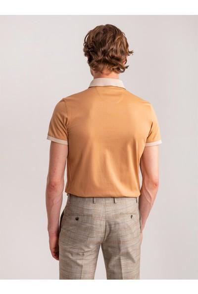 Dufy Camel Merserize Pamuklu Polo Yaka Erkek T-Shirt - Slim Fit