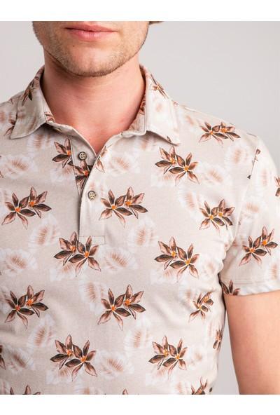 Dufy Ekru Yaprak Desenli Pamuklu Süprem Polo Yaka Erkek T-Shirt - Slim Fit