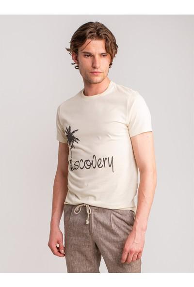 Dufy Ekru Palmiye Baskılı Pamuklu Erkek T-Shirt - Slim Fit