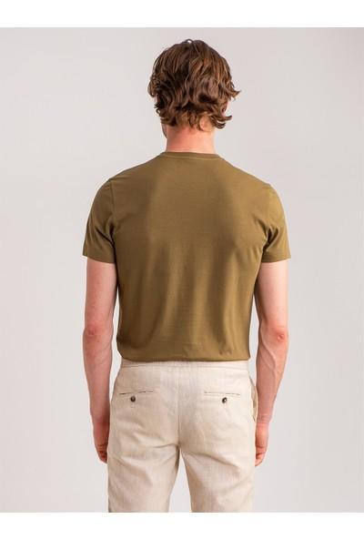 Dufy Haki Tropik Temalı Enjeksiyon Baskılı Pamuklu Erkek T-Shirt - Slim Fit