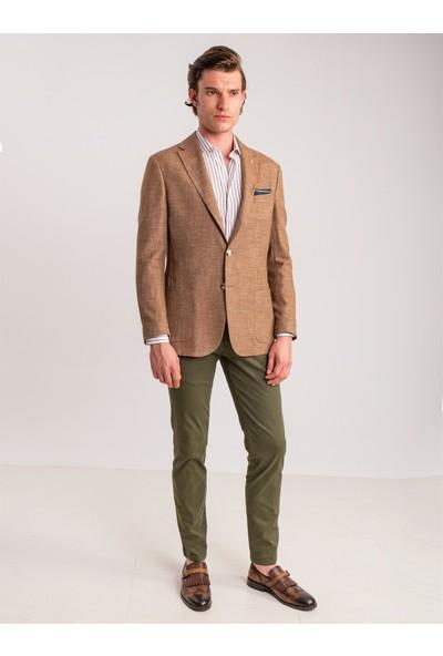 Dufy Haki Pamuk Likra Karışımlı Erkek Pantolon - Classic Fit