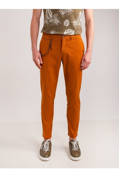 Dufy Bakır Aksesuar Detaylı Armür Pamuklu Likra Erkek Pantolon - Modern Fit