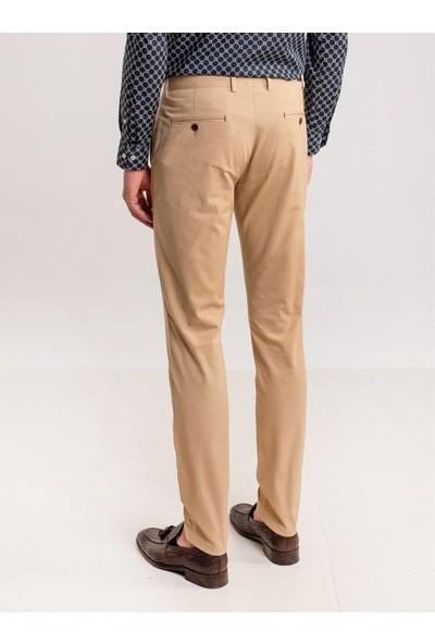 Dufy Camel Aksesuar Detaylı Armür Pamuklu Likra Erkek Pantolon - Modern Fit