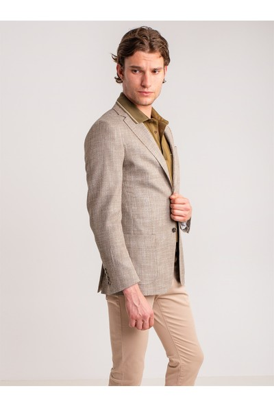 Dufy Camel Pamuklu Likra Erkek Pantolon - Modern Fit