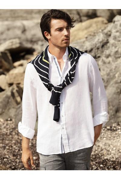 Dufy Beyaz Düz Düğme Çizgi Detaylı Keten Erkek Gömlek - Regular Fıt