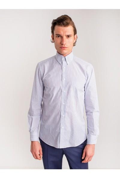 Dufy Mavi Gri Çizgili Pamuklu Erkek Gömlek - Regular Fıt