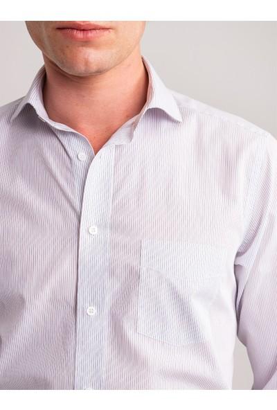 Dufy Beyaz Lacivert Çizgili Pamuklu Erkek Gömlek - Regular Fıt