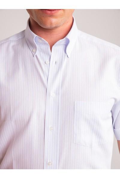 Dufy Beyaz Çizgili Pamuklu Kısa Kol Erkek Gömlek - Regular Fıt