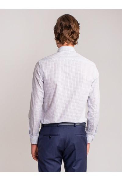 Dufy Beyaz Kareli Pamuklu Klasik Erkek Gömlek - Regular Fıt