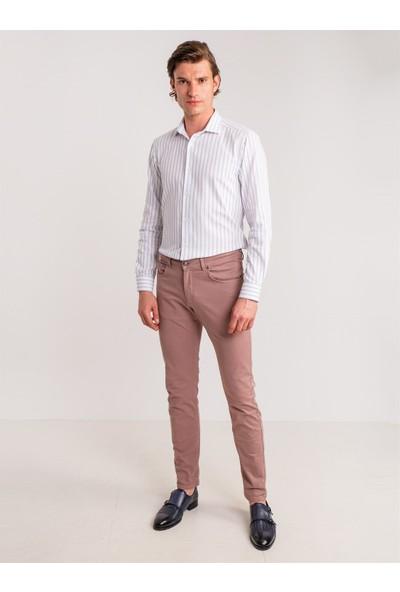 Dufy Beyaz Çift Çizgili Pamuklu Klasik Erkek Gömlek - Slim Fit