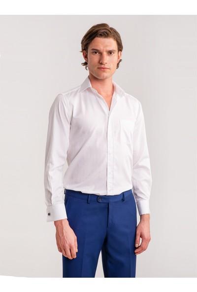 Dufy Beyaz Düz Kendinden Desenli Klasik Erkek Gömlek - Regular Fıt