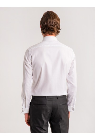 Dufy Beyaz Çizgili Pamuklu Gizli Düğmeli Klasik Erkek Gömlek - Slim Fit