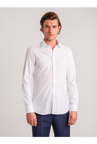 Dufy Beyaz Armür Pamuklu Klasik Erkek Gömlek - Slim Fit