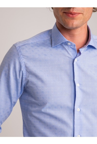 Dufy Mavi Şal Desen Erkek Gömlek - Slim Fit