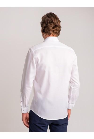 Dufy Beyaz Armür Pamuklu Yaka Içi Detaylı Erkek Gömlek - Regular Fıt