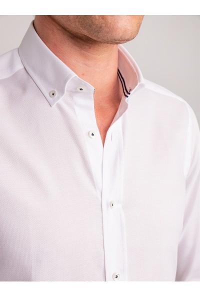 Dufy Beyaz Armür Pamuklu Klasik Erkek Gömlek - Slım Fit