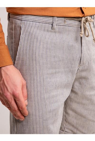 Dufy Bej Çizgili Bej Keten Karışımlı Ip Detaylı Erkek Short - Modern Fit