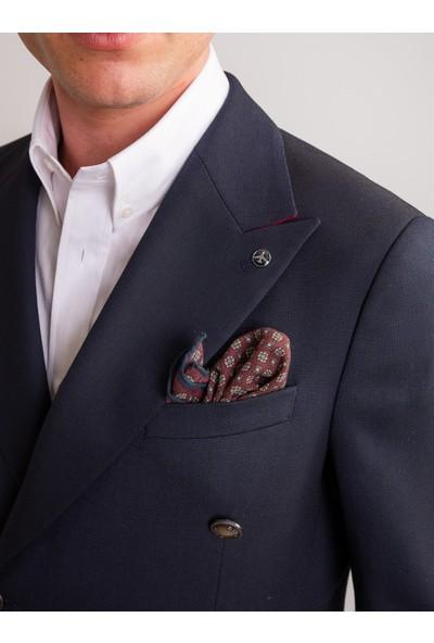 Dufy Lacivert Armür Viskon Likra Karışımlı Erkek Ceket - Modern Fit