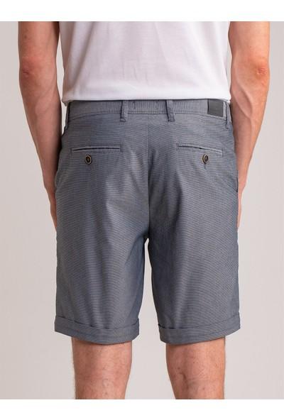 Dufy Lacivert Armür Pamuk Likra Karışım Erkek Short - Modern Fit