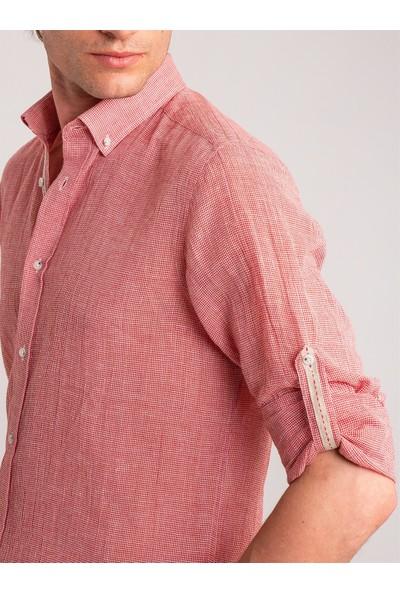 Dufy Kırmızı Armür Keten Karışımlı Nefes Alabilen Erkek Gömlek - Slim Fit