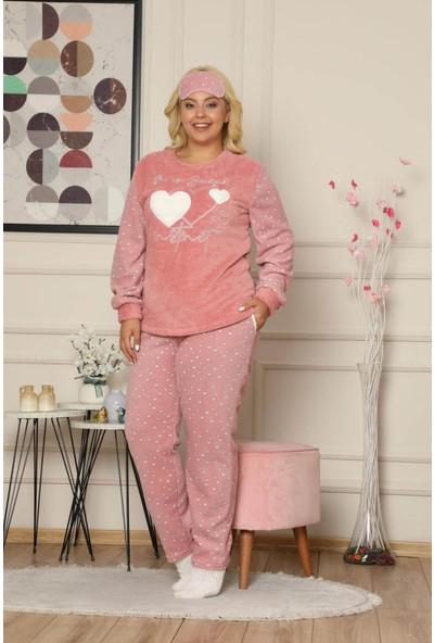 Arcan Kadın 1315 Büyük Beden Göz Bantlı Çoraplı Polar Pijama Takımı Somon