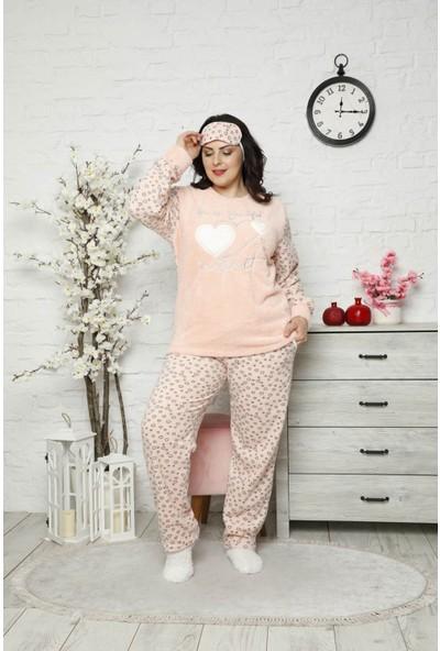 Arcan Kadın 1315-2 Büyük Beden Göz Bantlı Çoraplı Polar Pijama Takımı Pudra