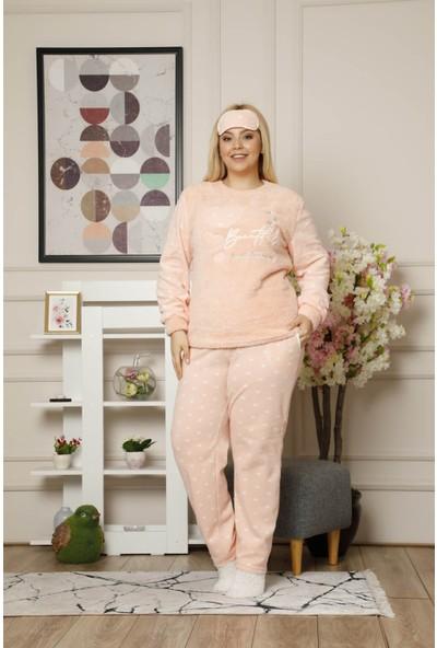 Arcan Kadın 1305-6 Büyük Beden Çoraplı Göz Bantlı Polar Pijama Takımı Pudra