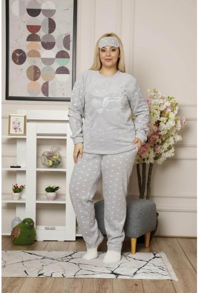 Arcan Kadın 1305-5 Büyük Beden Çoraplı Göz Bantlı Polar Pijama Takımı Gri