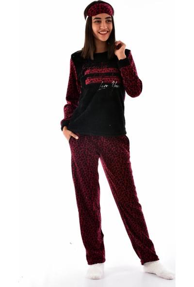 Arcan Kadın 1121-1 Çoraplı Göz Bantlı Polar Pijama Takımı Kırmızı