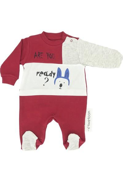 Twetoon Are You Ready Yazılı Patikli Bebek Tulum Kırmızı 0 - 3 Ay