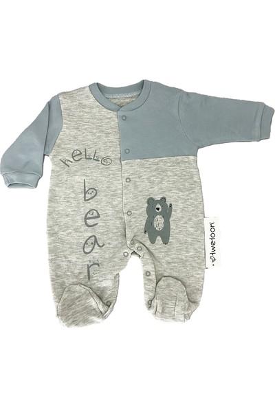 Twetoon Hello Bear Yazılı Patikli Bebek Tulum Mavi 3 - 6 Ay